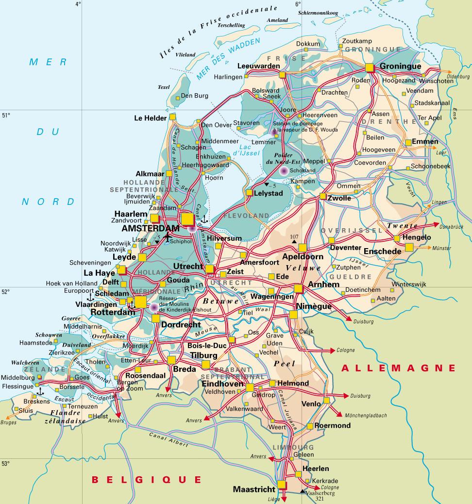 Carte Europe Pays Bas.Partir Aux Pays Bas Carte