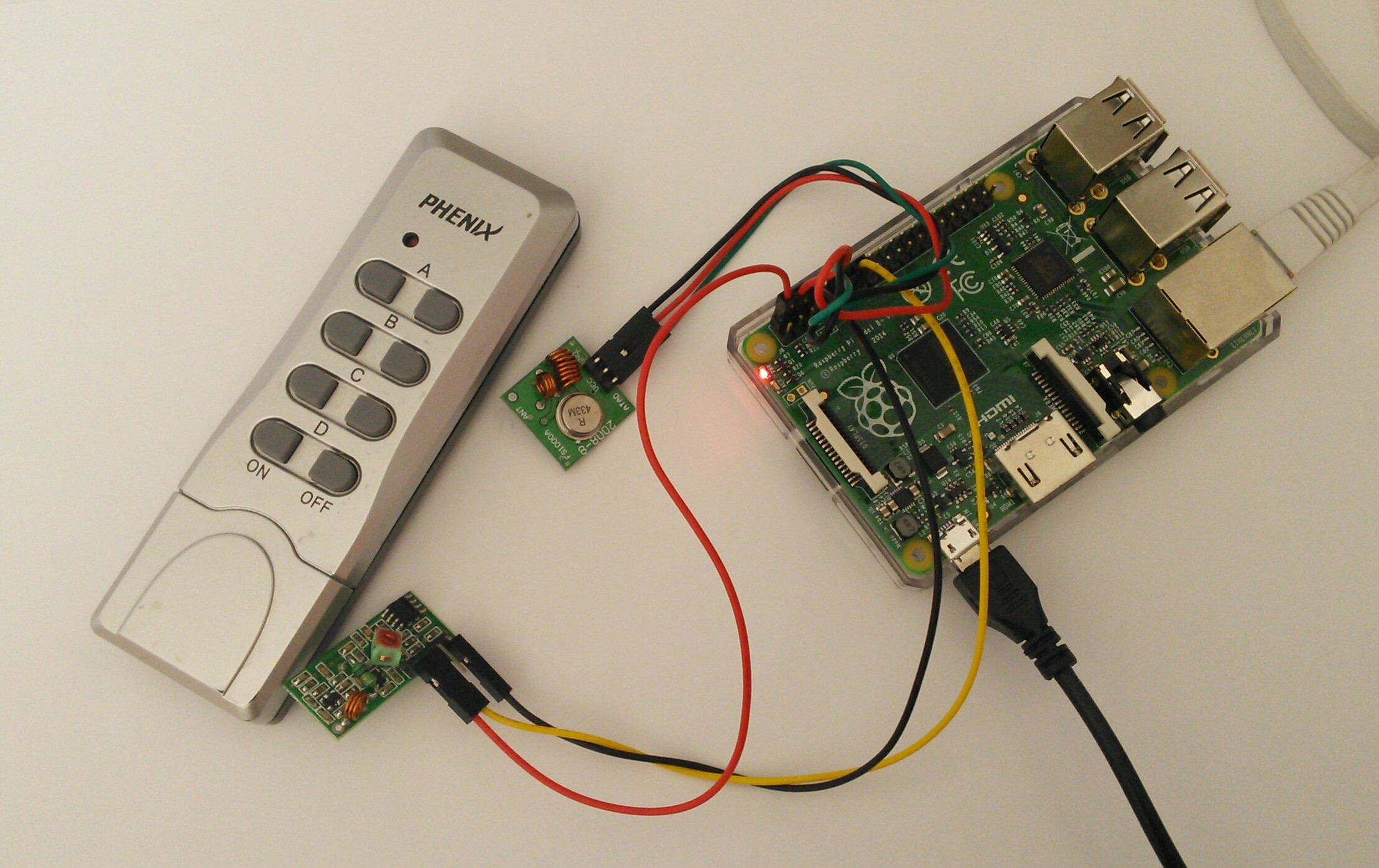 raspberry pi telecommande  mhz domotique suite