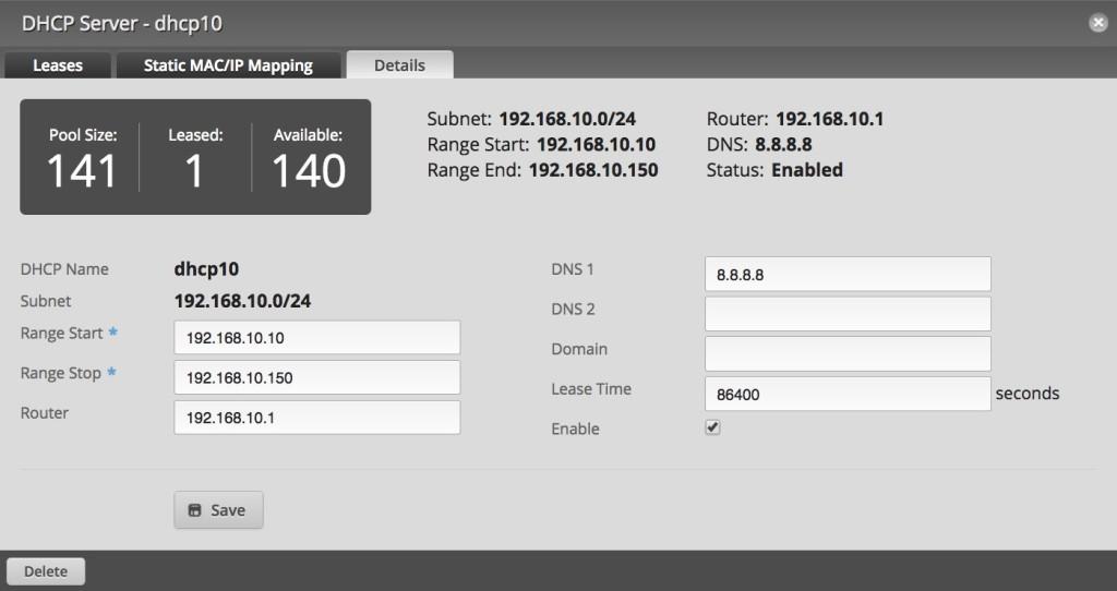 edge router dhcp serveur 10